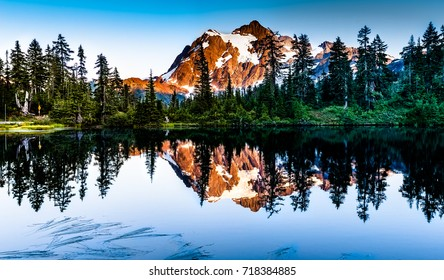Mount Shuksan, Washington - USA. View of Mount Shuksan with snowy peaks.