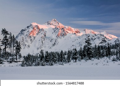 Mount Shuksan winter landscape at Picture Lake.