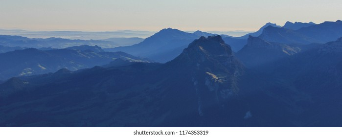 Mount Sigriswiler Rothorn at sunrise. View from Mount Niesen, Bernese Oberland.