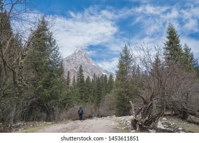 Mount Siguniang or Four Girls Mountain trekking route in Changping Valley at Mount Siguniang National Park, Xiaojin, Sichuan - China