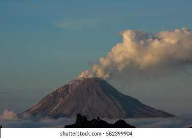 Mount Sinabung smoking in North Sumatra Indonesia