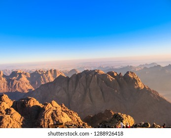 Mount Sinai in Sinai Peninsula, Egypt. Copy space. Blue sky. Scenic landscape of popular travel destination.