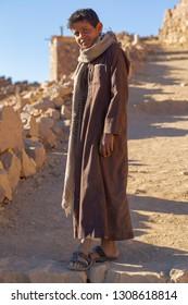 Mount Sinai, Qesm Sharm Ash Sheikh, South Sinai Governorate / Egypt - 02.04.2019. Young resident of the Sinai Peninsula. Bedouin village in the mountains.