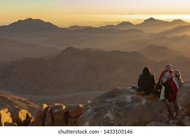 Mount Sinai, Qesm Sharm Ash Sheikh, South Sinai Governorate / Egypt - 02.04.2019. Pilgrims meet the dawn on the holy mountain. (Mount Horeb, Gabal Musa, Moses Mount).