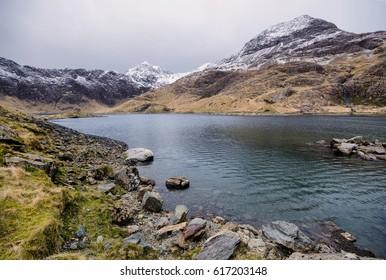 Mount Snowdon, Wales, UK. The lake Llyn Llydaw in the Snowdonia National Park in Gwynedd, north-west Wales.