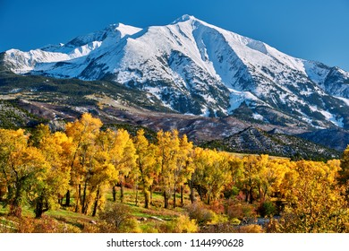 Mount Sopris autumn landscape in Colorado Rocky Mountains, USA.