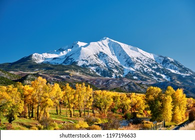Mount Sopris autumn landscape in Colorado Rocky Mountains, USA.