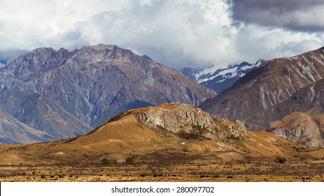 Mount Sunday aka Edoras from Lord of the Rings: The Two Towers. Canterbury, South Island of New Zealand