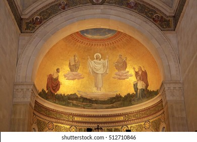 MOUNT TABOR, ISRAEL - AUGUST 19, 2016: The scene of the biblical event of transfiguration of Jesus Christ - fresco in the Church of the Transfiguration, Mount Tabor, Galilee, Israel.