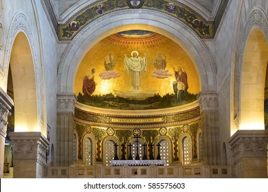 MOUNT TABOR, ISRAEL - February 20, 2017: the scene of the biblical event of transfiguration of Jesus Christ - fresco in the Church of the Transfiguration, Mount Tabor, Galilee, Israel