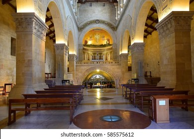MOUNT TABOR, ISRAEL - February 20, 2017: interior and altar with mosaic of scene of the biblical event of transfiguration of Jesus Christ in Church of the Transfiguration, Mount Tabor, Galilee, Israel