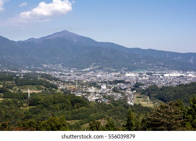 Mount Tanzawa oyama and town area in Hadano city