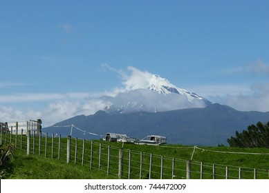 Mount Taranaki from Hurford road on spring day