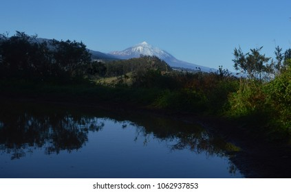 mount Teide with pond in foreground. Tenerife. canary islands