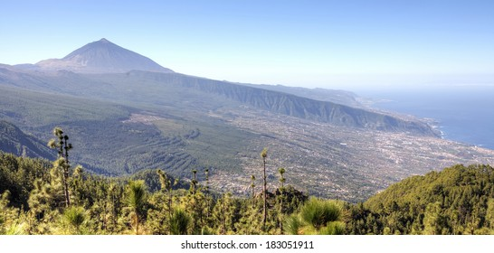 Mount Teide and the valley of La Orotava in the north of the island of Tenerife, Canary Islands. Mount Teide and the valley of La Orotava in the north of the island of Tenerife, Canary Islands.