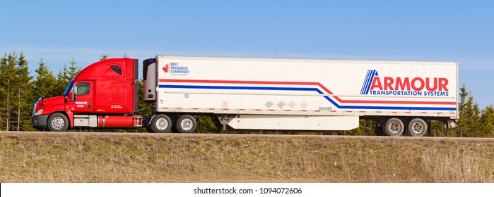 MOUNT THOM, CANADA - MAY 10, 2018: Parked semi-truck. Armour Transportation Systems is based in Moncton, NB, Canada and was created in 1955. Armour provides transportation and warehousing sevices.