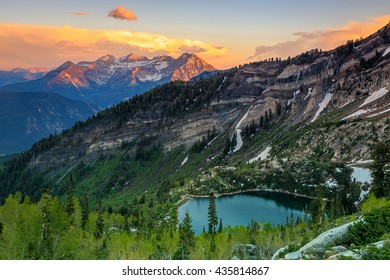 Mount Timpanogos and Silver Lake in the Wasatch Mountains, USA.