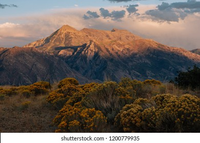Mount Timpanogos at Sunset in Utah with a Cloudy Sky and Sagebrush