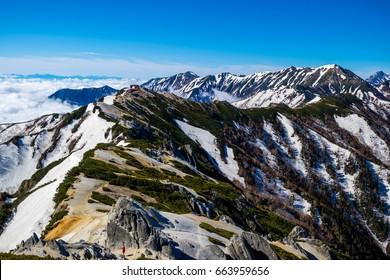 Mount Tsubakuro Dake, famous trekking mountain in Azumino, Nagano, Japan. It is situated in Japan's Hida Mountains or Japan Alps. It was specified for Chbu-Sangaku National Park