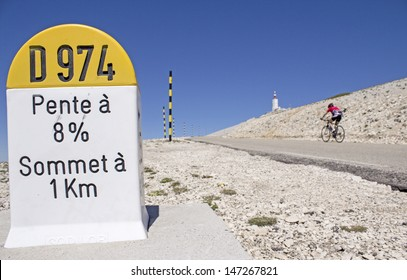 Mount Ventoux, cycling to the summit. Provence. France.