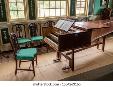 Mount Vernon, VA - 5 November 2019: Antique harpsicord or piano in the interior of George Washington's home at Mt Vernon