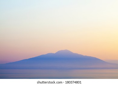 Mount Vesuvius and Bay of Naples at sunrise. Photographed from the mountains of Sorrento.