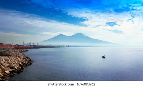 Mount Vesuvius, cloacked in a slight fog