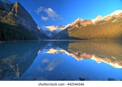 Mount Victoria Glacier Reflection on Lake Louise, Banff, Canadian Rockies
