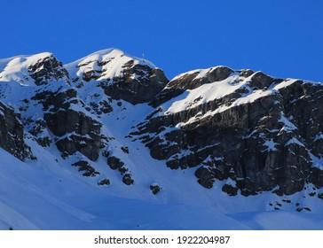 Mount Vorab in winter. View from Elm, SWitzerland.