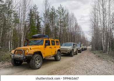 mount mount Vottovaara ,Karelia, Russia - May 04, 2016. Expedition Jeep Wrangler mountain Vottovaara is the highest peak. Wrangler is a compact SUV produced by Chrysler