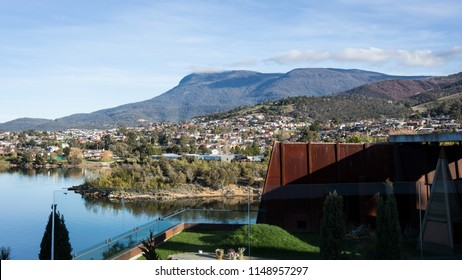 Mount Wellington landscape view from MONA, Hobart, Tasmania. Amazing clear Winter morning, July 2018. Australia.