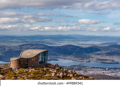 Mount Wellington Lookout structure overlooking the city of Hobart, Tasmania, Australia