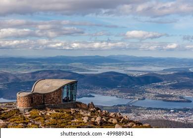 Mount Wellington Lookout structure overlooking the city of Hobart, Tasmania, Australia