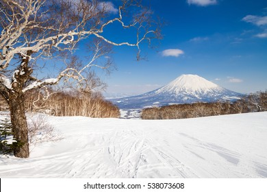 "Mount Yotei, so called ""Fuji of Hokkaido"", from Niseko ski resort, Hokkaido, Japan."