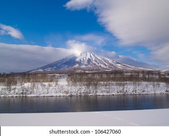 Mount Yotei in winter look like Mt.Fuji, the symbol of Japan. This active stratovolcano located in Shikotsu-Toya National Park, Hokkaido, Japan. It is one of the 100 famous mountains in Japan.
