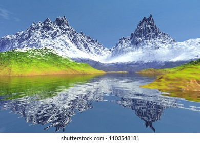 Mountain, 3D rendering, an alpine landscape, snow on the peaks, grass on the ground, reflection in water and a blue sky.