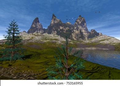 Mountain, 3D rendering, an alpine landscape, beautiful trees, rocks and grass, water reflection and birds in the blue sky.