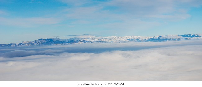 Mountain above the clouds. Balkan mountain or Old mountain above the clouds