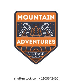 Mountain adventures vintage isolated badge. Outdoor explorer sign, touristic camping label, nature expedition illustration