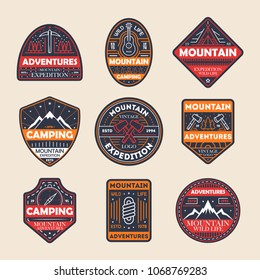 Mountain adventures vintage isolated label set. Outdoor hiking expedition symbol, extreme forest explorer, touristic camping badge, nature wildlife logo. People travel activity illustration