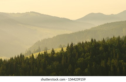 Mountain aerial morning landscape. Composition of nature.