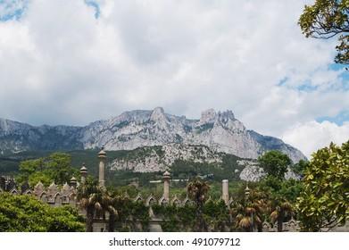 Mountain AI-Petri and towers of Vorontsovsky Palace, Alupka, Crimea