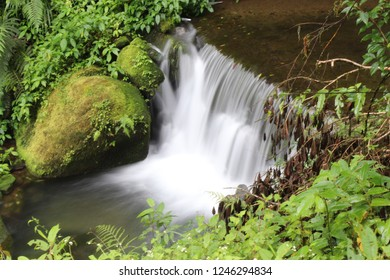 Mountain Ali, Taiwan - October 17, 2017: Small waterfall in the mountains