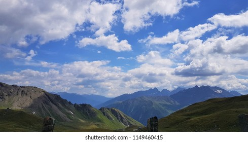 A mountain in the Alps in Austria near by the Grossglockner Hochalpenstrasse with a beautiful cloudy sky