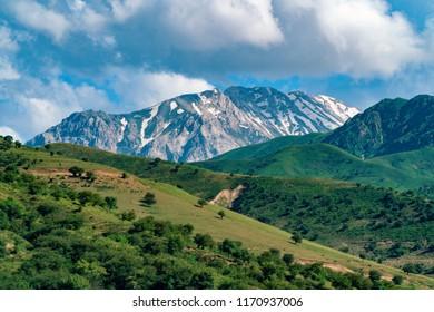Mountain alps covered by snow, Chimgan, Uzbekistan