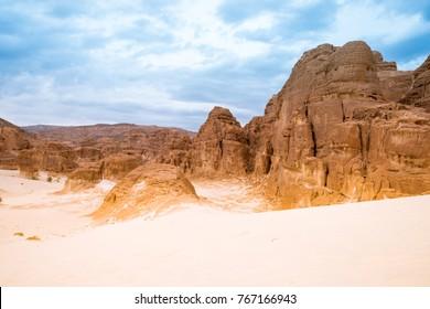 Mountain in arid Sinai desert Egypt Africa