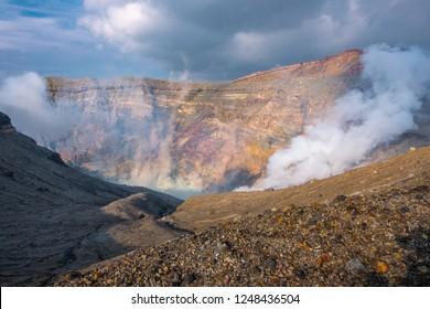 Mountain Aso Nakadake crater, Aso, Kumamoto, Kyushu, Japan