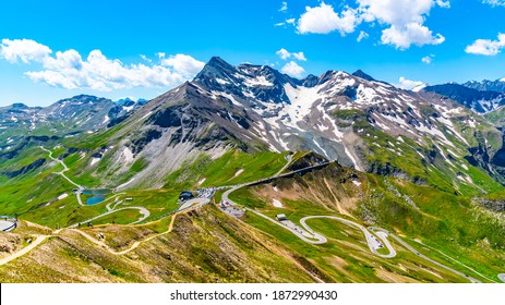 Mountain asphalt road serpentine. Winding Grossglockner High Alpine Road in High Tauern, Austria.