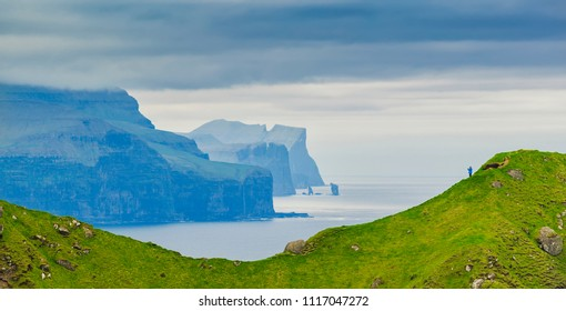 Mountain and Atlantic Ocean, Kalsoy Island , Faroe Islands Panoramic Shot Of Nordic Islands