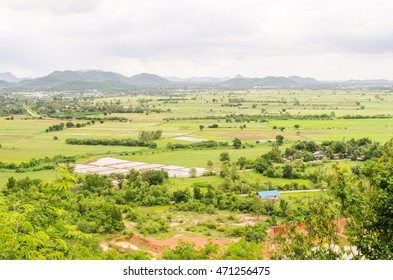 the mountain autumn landscape of Rice field, Thailand.